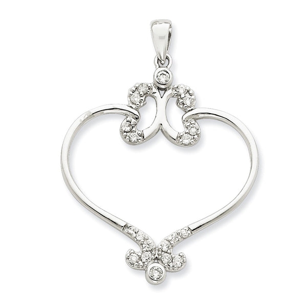 Sterling Silver Fancy Hearts CZ Pendant