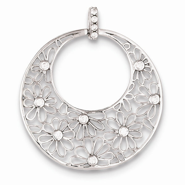Sterling Silver Cut-out Flowers and CZ Circle Pendant