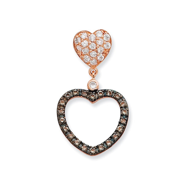 Sterling Silver Clear and Black CZ Heart Slide Pendant