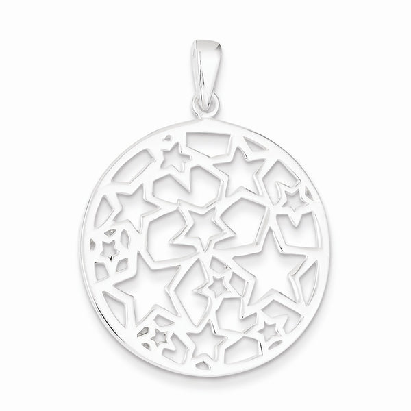 Sterling Silver Star Filigree Round Pendant