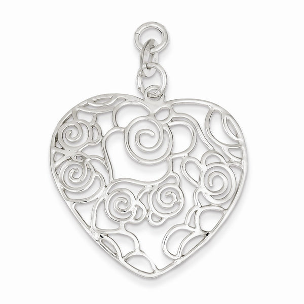Sterling Silver Polished Filigree Heart Pendant