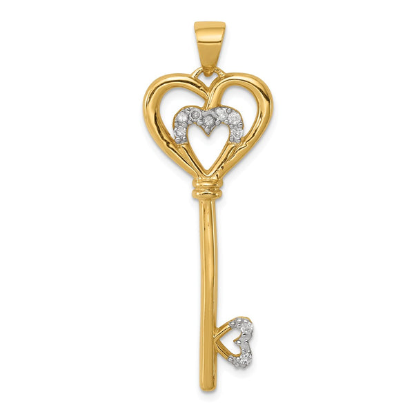 Sterling Silver with vermeil CZ Heart within Silver Heart Key Pendant