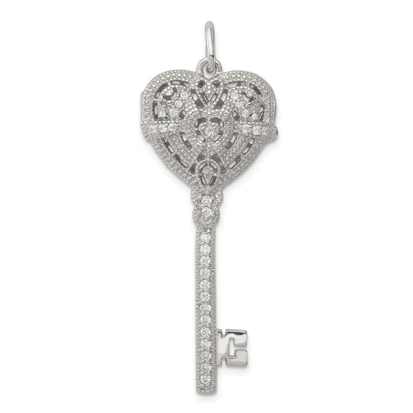 Sterling Silver CZ Heart Key Locket