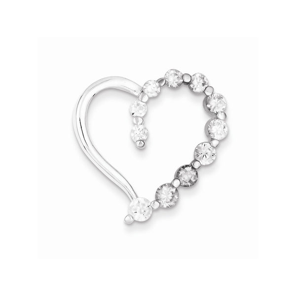 Sterling Silver & CZ Polished Heart Pendant