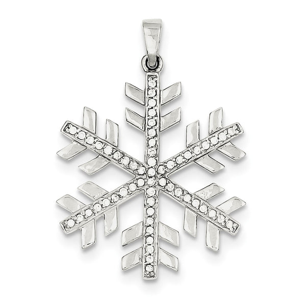 Sterling Silver & CZ Polished Snowflake Pendant