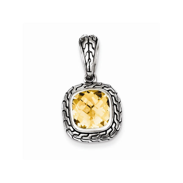 Sterling Silver Antiqued Champagne CZ Pendant