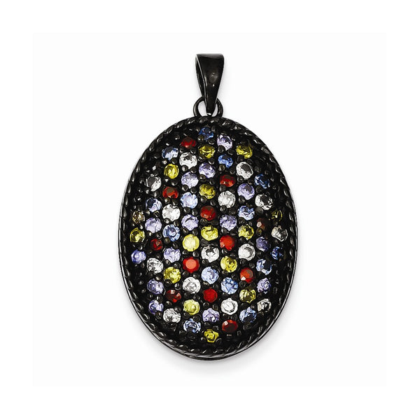 Sterling Silver Black Rhodium Multi-colored CZ Oval Pendant