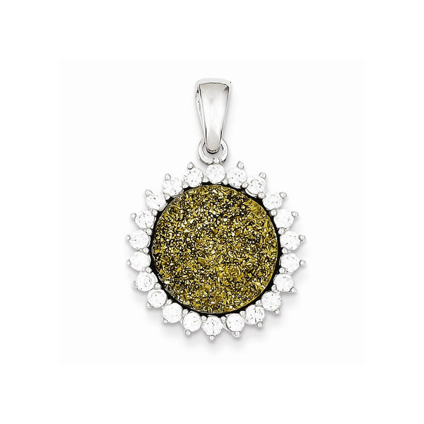Sterling Silver with Yellow Druzy and CZ Round Pendant