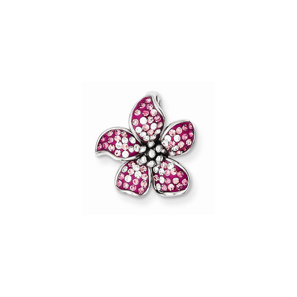 Sterling Silver Rhodium Plated Pink Stellux Crystal Flower Slide