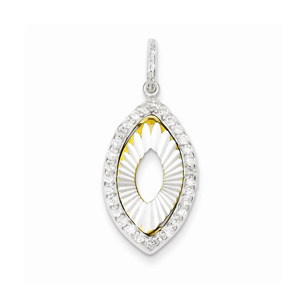Sterling Silver and Flash Gold Plated CZ Diamond Cut Pendant