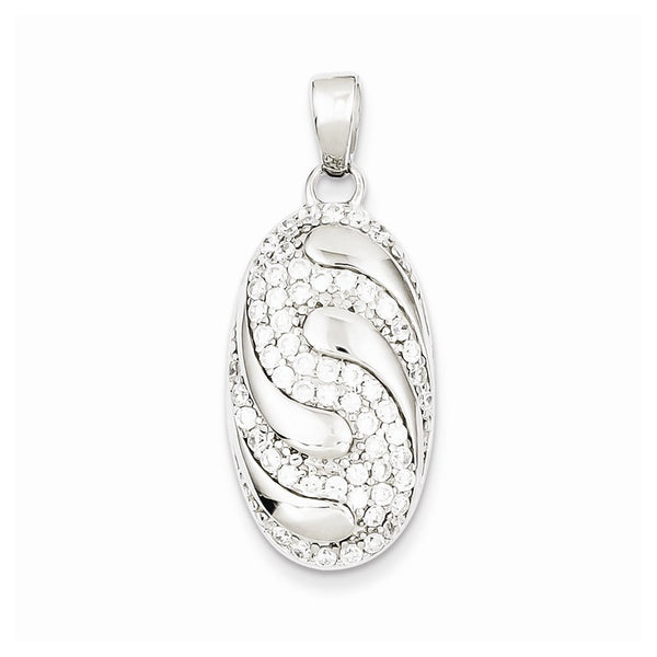 Sterling Silver Rhodium Plated CZ Swirly Pendant