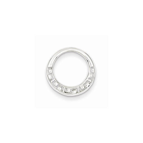 Sterling Silver Rhodium Plated Greek Circle Slide