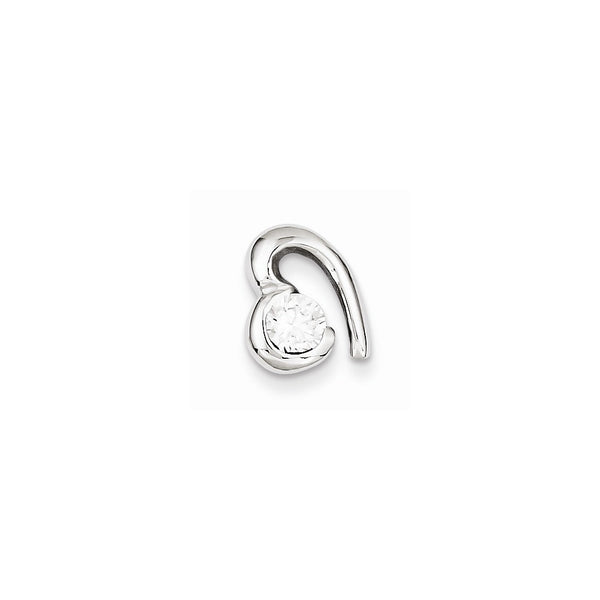 Sterling Silver Rhodium Plated CZ Heart Pendant Slide