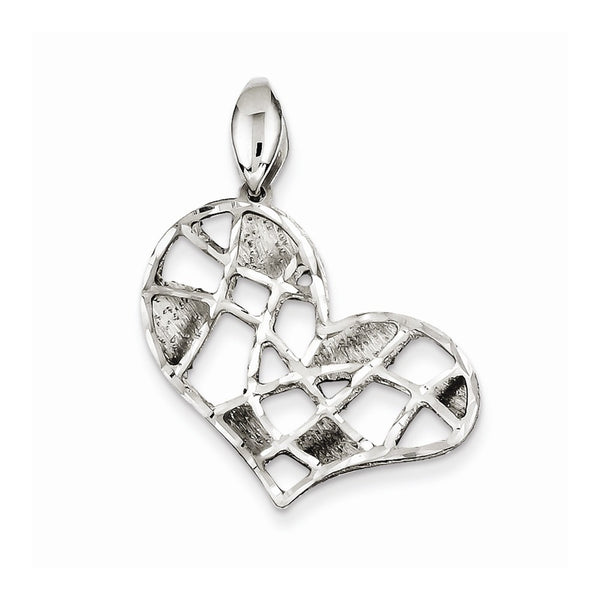 Sterling Silver Brushed & Diamond Cut Heart Pendant