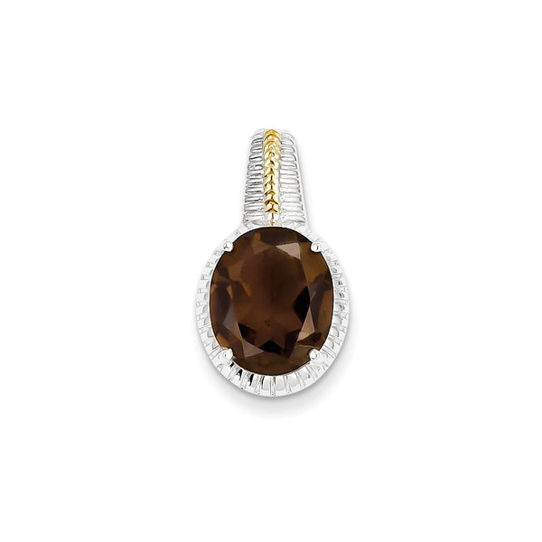 Sterling Silver w/ Flash Gold-plate Accent Smoky Quartz Pendant