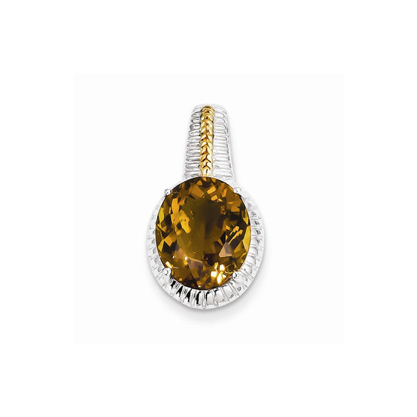 Sterling Silver w/ Flash Gold-plate Accent Whiskey Quartz Pendant