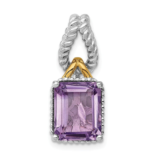 Sterling Silver Rhodium w/Flash Gold-plate Accent Amethyst Pendant