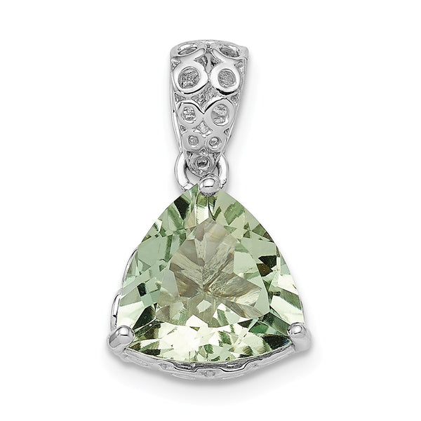Sterling Silver Rhodium-plated Green Quartz Pendant