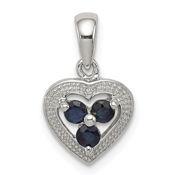 Sterling Silver Rhodium Plated Diamond and Sapphire Heart Pendant