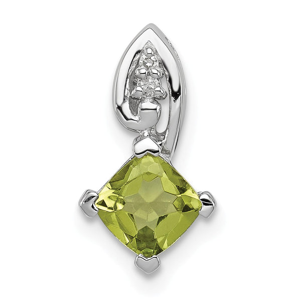 Sterling Silver Rhodium Plated Diamond & Peridot Square Pendant