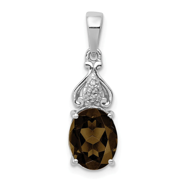 Sterling Silver Rhodium-plated Diamond and Smoky Quartz Pendant