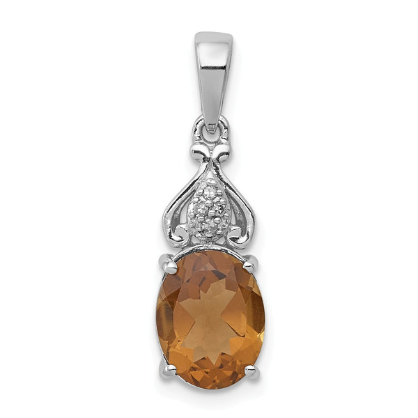 Sterling Silver Rhodium-plated Diamond and Whiskey Quartz Pendant