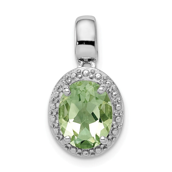 Sterling Silver Rhodium-plated with Green Quartz Oval Pendant