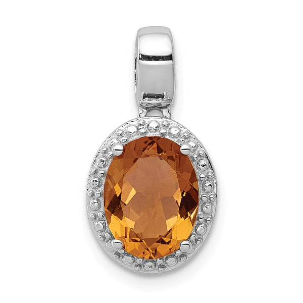 Sterling Silver Rhodium-plated with Whiskey Quartz Oval Pendant