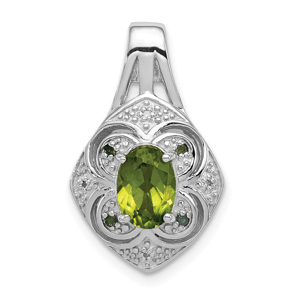 Sterling Silver Rhodium White/Green Diamond & Peridot Oval Pendant