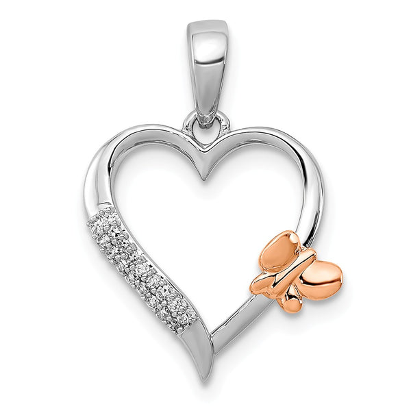 Sterling Silver/Rhodium/14k Rose Gold Butterfly Diamond Heart Pendant