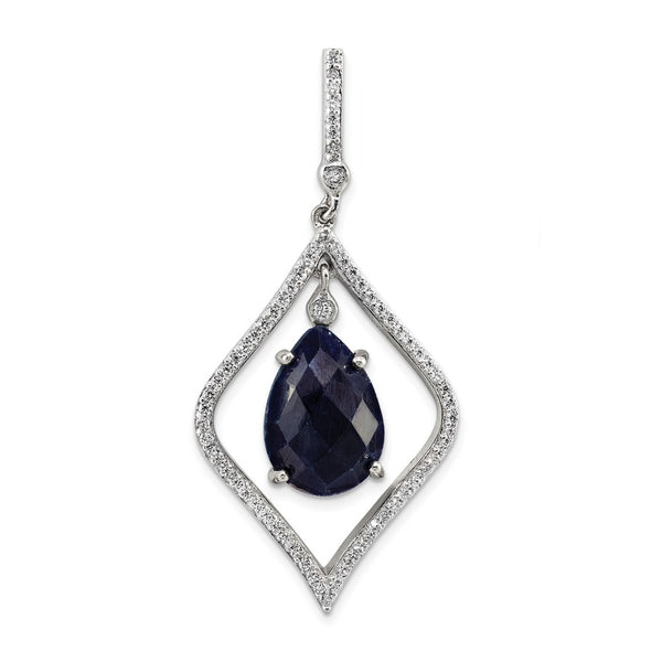 Sterling Silver with Blue Corundum and CZ Pendant