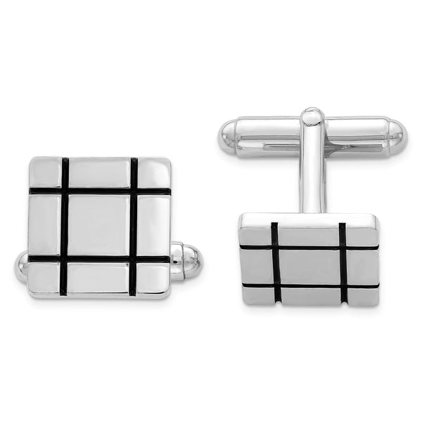 Sterling Silver Rhodium-plated and Black Enamel Groove Square Cuff Links
