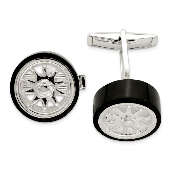 Sterling Silver Black Enamel Tire Cuff Links