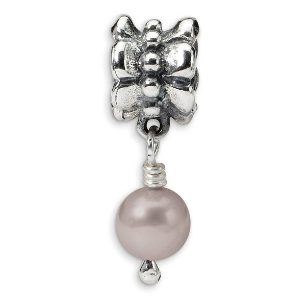 Sterling Silver Reflections Grey FW Cultured Pearl Dangle Bead