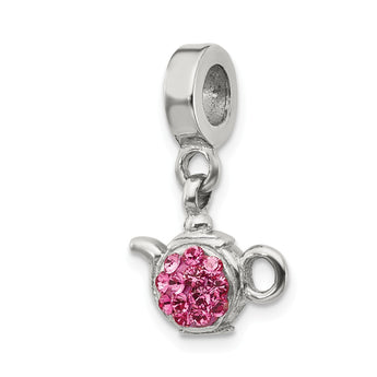 Sterling Silver Reflections Pink Swarovski Crystal Teapot Dangle Bead