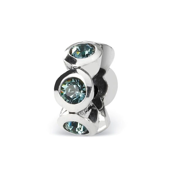 Sterling Silver Reflections Dec Swarovski Crystal Birthstone Bead