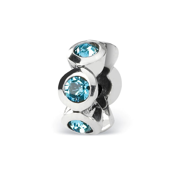 Sterling Silver Reflections March Swarovski Crystal Birthstone Bead