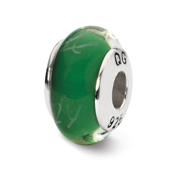 Sterling Silver Reflections Green/White Scribbles Hand-blown Glass Bead