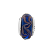 Sterling Silver Reflections Blue/Brown Swirl Hand-blown Glass Bead
