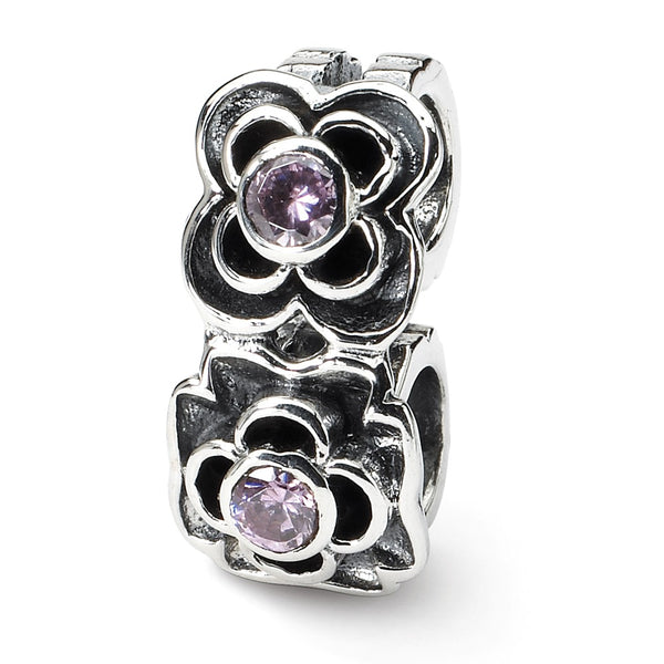 Sterling Silver Reflections Pink CZ Connector Bead