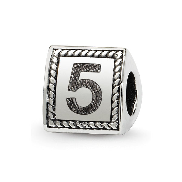Sterling Silver Reflections Number 5 Triangle Block Bead