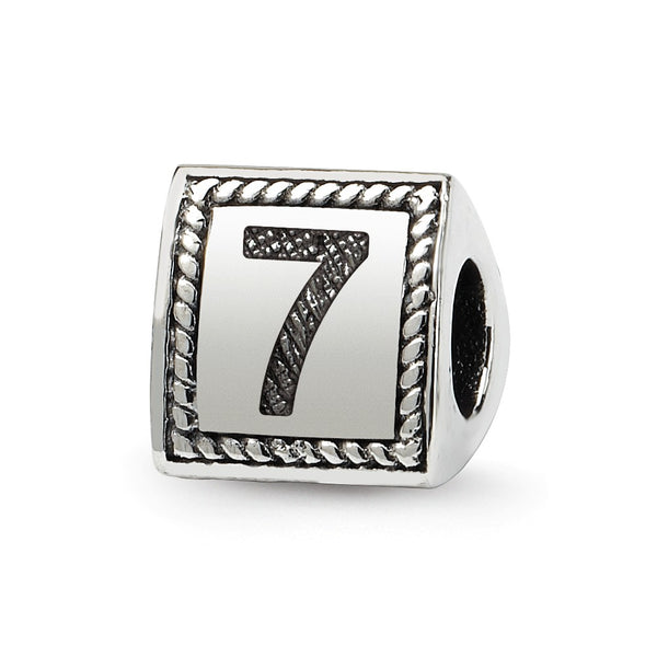 Sterling Silver Reflections Number 7 Triangle Block Bead