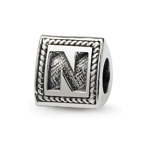 Sterling Silver Reflections Letter N Triangle Block Bead