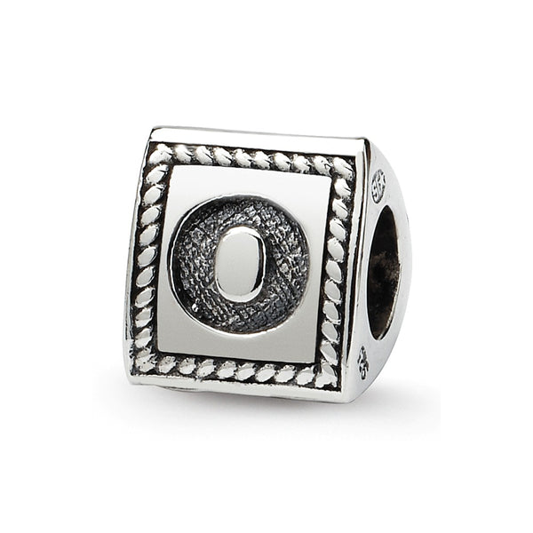 Sterling Silver Reflections Letter O Triangle Block Bead