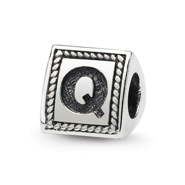 Sterling Silver Reflections Letter Q Triangle Block Bead