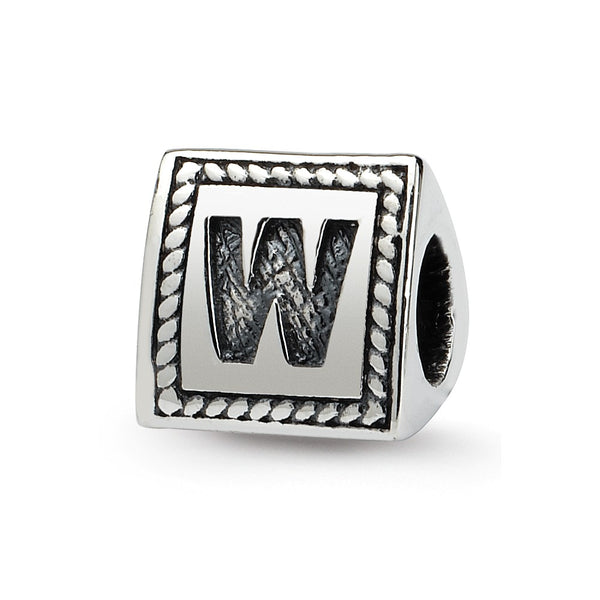Sterling Silver Reflections Letter W Triangle Block Bead