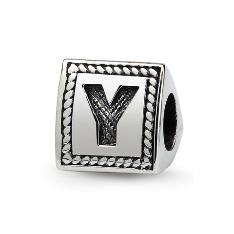 Sterling Silver Reflections Letter Y Triangle Block Bead