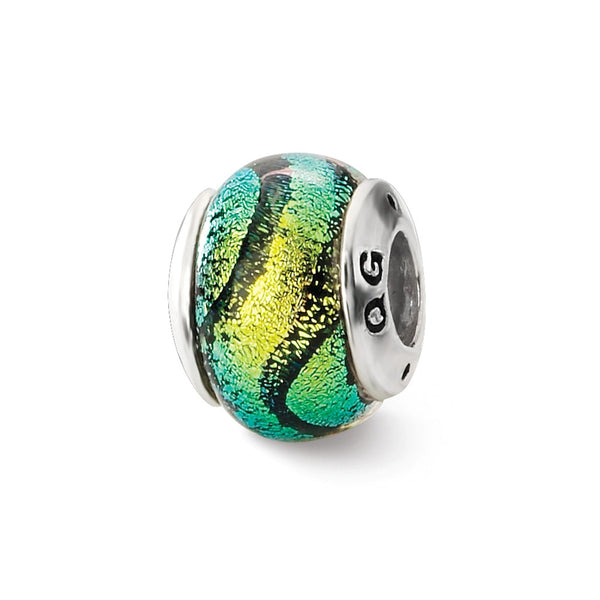Sterling Silver Reflections Green Dichroic Glass Bead
