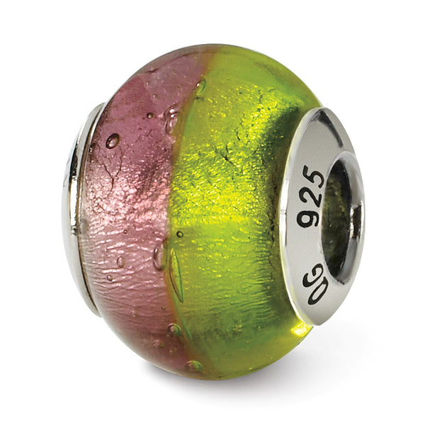 Sterling Silver Reflections Pink/Green Italian Murano Bead