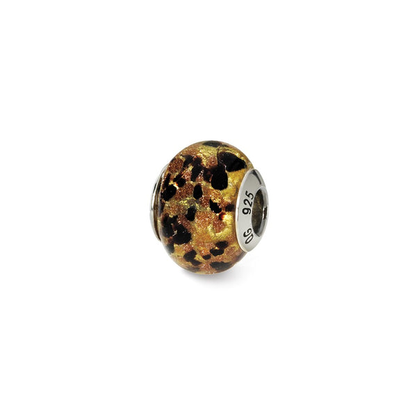 Sterling Silver Reflections Yellow/Gold/Black Italian Murano Bead